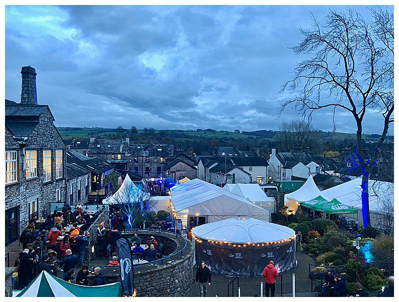 Overhead shot of Kendal Mountain Festival Tents at dusk